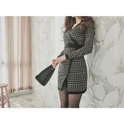 UUZONE - Check Wrap Dress