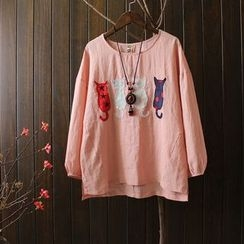 Blue Rose - Embroidered Long-Sleeve T-shirt