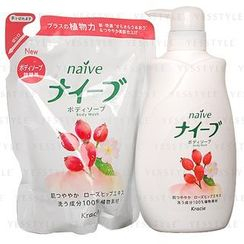Kracie - Naïve Body Wash (Rose Hip) Set: Body Wash 580ml + Refill 420ml