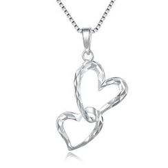 MaBelle - 14K White Gold Interlocking Heart with Diamond Cut Necklace (16'), Women Jewelry in Gift Box