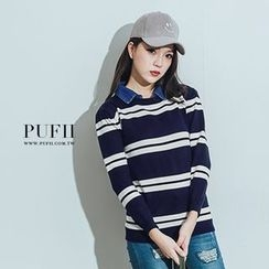 PUFII - Inset Collar Striped Top