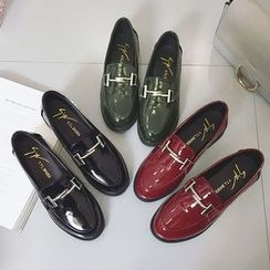 Chryse - Chunky Heel Faux Patent Leather Loafers