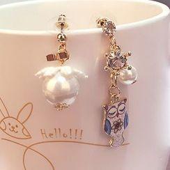 Jemai - Non-Matching Faux-Pearl Earrings