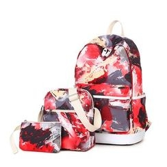 VIVA - Set of 3: Printed Backpack + Crossbody Bag + Pouch