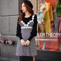 Dabuwawa - Wool Blend Rosette Jumper Dress