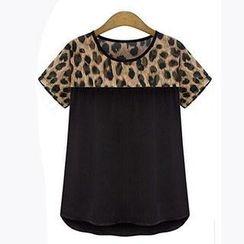 Eloqueen - Leopard-Print Panel T-Shirt