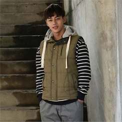 BYMONO - Hooded Fleece-Trim Padded Vest