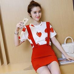 Ashlee - 套装: 水果印花短袖T恤 + 背带裙