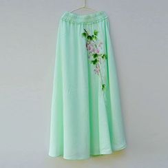 Rivulet - Embroidered Maxi Skirt