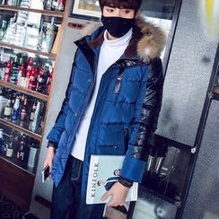 uninukoo - Faux Fur Trim Hooded Padded Jacket