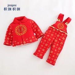 JIMIJIMI - 嬰兒套裝: 印花長袖襯衫 + 背帶褲