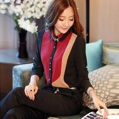 Styleonme - Rhinestone Button Color Block Chiffon Blouse