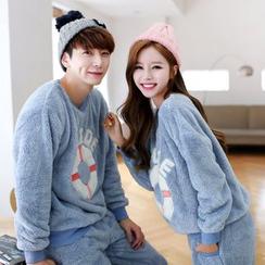SHIRLEY - Couple Matching Pajama Set: Fleece Sweatshirt + Pants