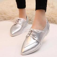 Tomma - 尖头系带平跟鞋