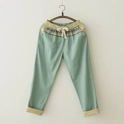 Heybabe - Embroidered Drawstring Pants