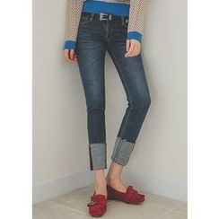 Chlo.D.Manon - Cuff-Hem Washed Slim-Fit Jeans