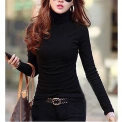 Raisin - Turtleneck Long Sleeve T-Shirt