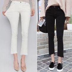 Seoul Fashion - Fray-Hem Straight-Cut Pants