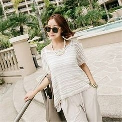 JOAMOM - Short-Sleeve Sheer Knit Top