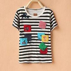 Cute Colors - Short-Sleeve Appliqué Striped T-Shirt