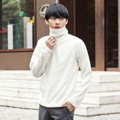 TOMONARI - Turtle-Neck Raglan-Sleeve Rib-Knit Top