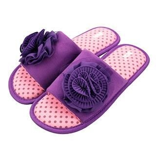 Betta - Ladies Open Toes Slippers (with Chiffon Flowers)