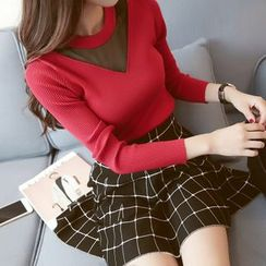 Bubbleknot - Set: Mesh Panel Knit Top + A-Line Check Skirt