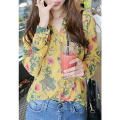 REDOPIN - Floral Print Sheer Blouse