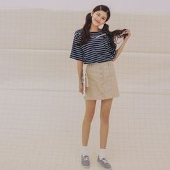 SUYISODA - Lace Trim Stripe Short-Sleeve T-Shirt