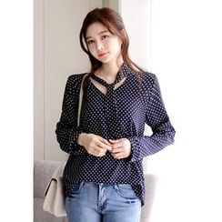 DEEPNY - Tie-Neck Dotted Chiffon Top