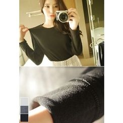 MyFiona - Round-Neck Long-Sleeve Brushed-Fleece Lined T-Shirt