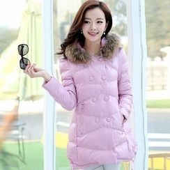 AiSun - Furry Hooded Padded Coat