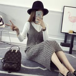 efolin - Sleeveless Thick Knit Midi Dress