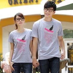 Porspor - Couple Matching Lettering T-Shirt