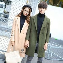 FULLHOPE - Couple Matching Embroidery Button Coat