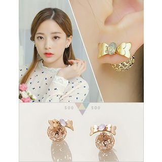 soo n soo - Rhinestone Bow Earrings