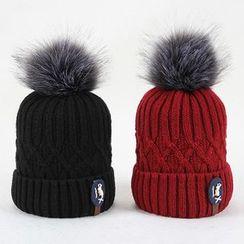 Amandier - Pompom Cable Knit Beanie