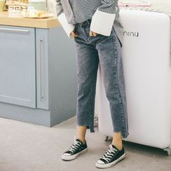 MOJIN - Cropped Washed Jeans