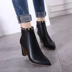 Monde - Studded Block Heel Pointed Ankle Boots