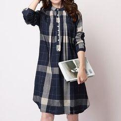Fashion Street - Gingham Long-Sleeve Shirtdress