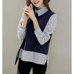 Dowisi - Striped Panel Chiffon Shirt