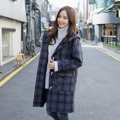 Envy Look - Toggle-Button Check Hooded Coat