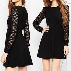Eloqueen - Lace-Sleeve A-Line Dress