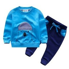 Endymion - Kids Set: Gingham Panel Polar Bear Print Pullover + Drawstring Pants
