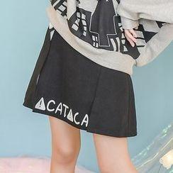 Moriville - Lettering Bow Accent A-Line Mini Skirt