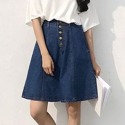 Cloud Nine - A-line Denim Skirt