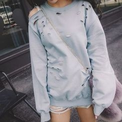 CHIH - Distressed Cutout Sweatshirt
