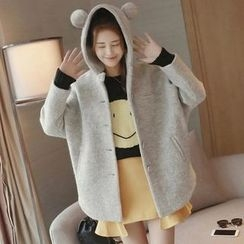 Angel Love - Bear Ear Hooded Long Coat