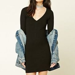 Richcoco - Plain V-neck Long-Sleeve Dress