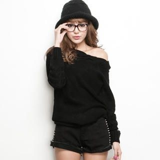 CUTIE FASHION - Off-Shoulder Cable-Knit Long Sweater